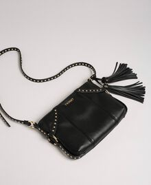 Faux leather shoulder bag with studs Black Woman 192TO8164-01