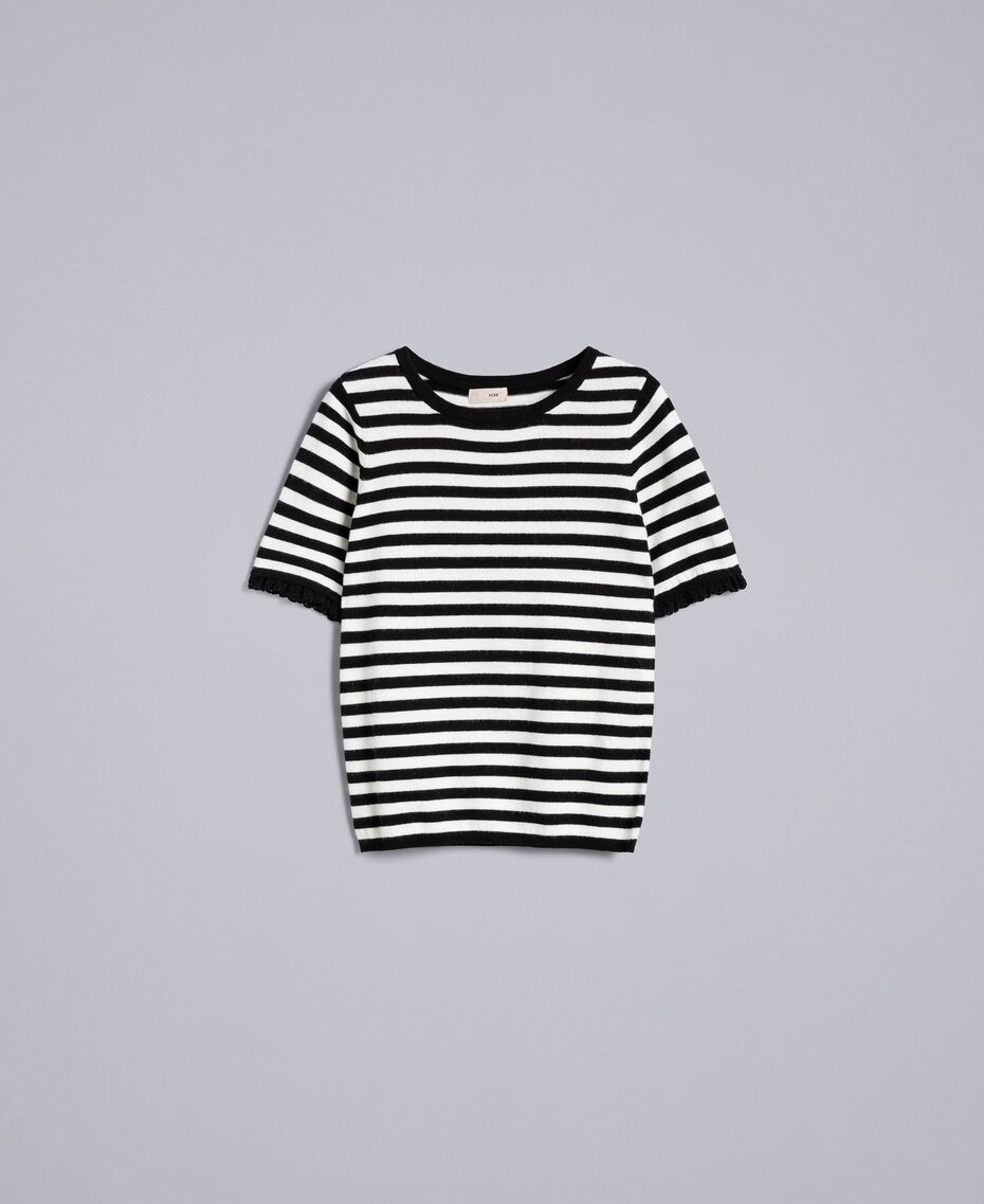 Striped cashmere blend top Black / Mother-of-pearl White Stripe Woman SA83FQ-0S