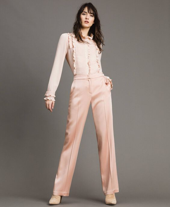 Pantalon en cady envers satin