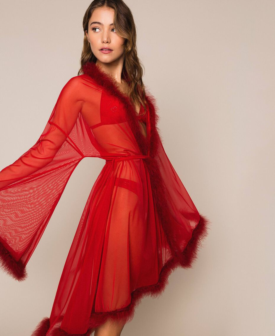 Tulle dressing gown with feathers Pomegranate Red Woman 201LL23WW-02