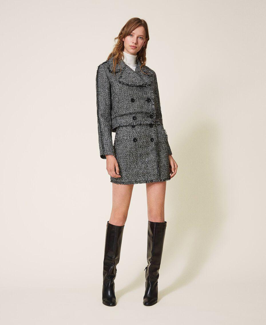 Байкерская куртка из букле с пайетками Черный женщина 202MT218A-01