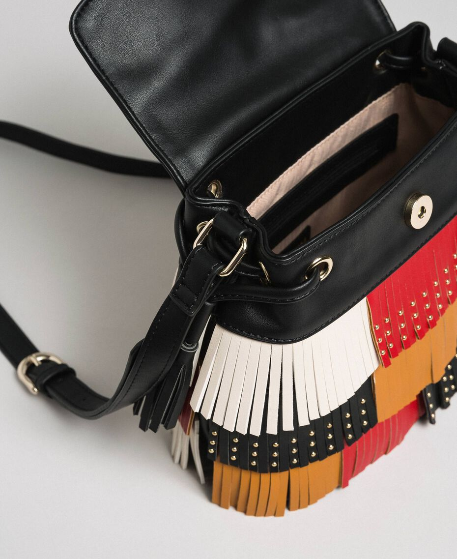 Faux leather bucket bag with fringes and studs Poppy Red / Saffron Yellow / Vanilla Woman 192MA7020-05