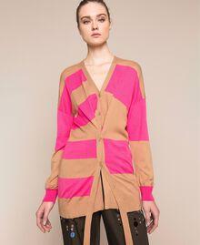 Cardigan mit asymmetrischen Streifen Gestreift Light Brown / Superpink Frau 201ST3111-04