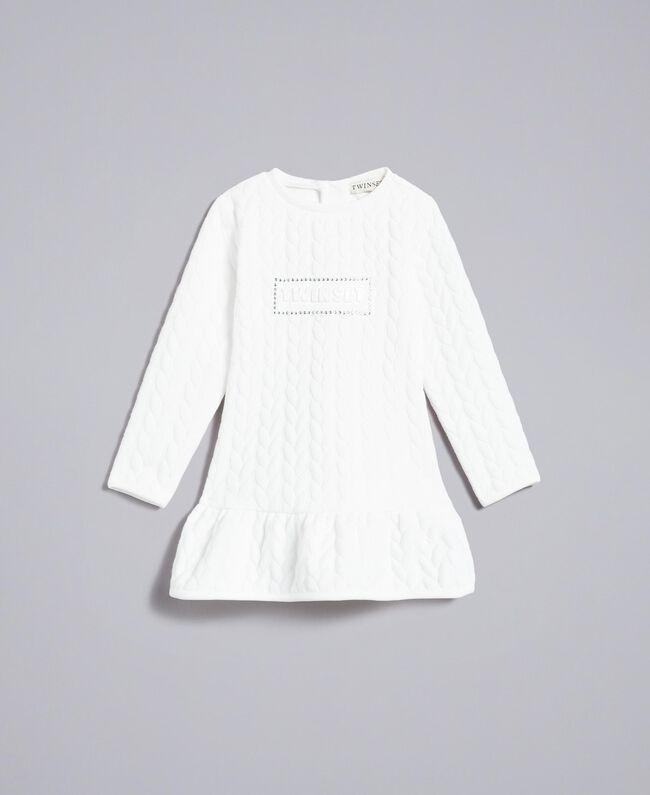 Matelassé fleece dress Off White Child FA82NP-01