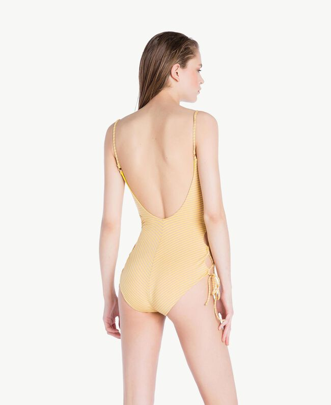 Striped one-piece swimsuit Yellow Fizz Lurex Stripes Woman MS8C00-04