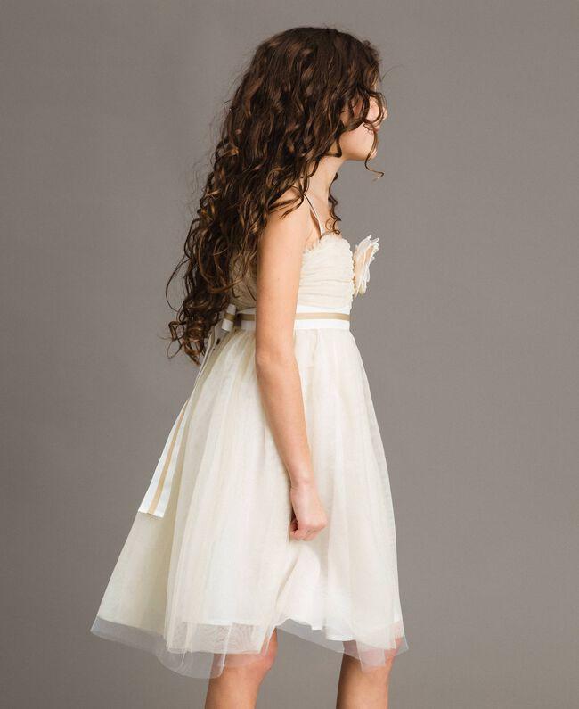 dda6d02b4e337 Tulle dress with flower-shaped brooch Pale Cream Child 191GJ2QM0-02