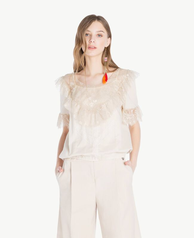 Bluse mit Spitze Calla-Weiß Frau TS82HB-01