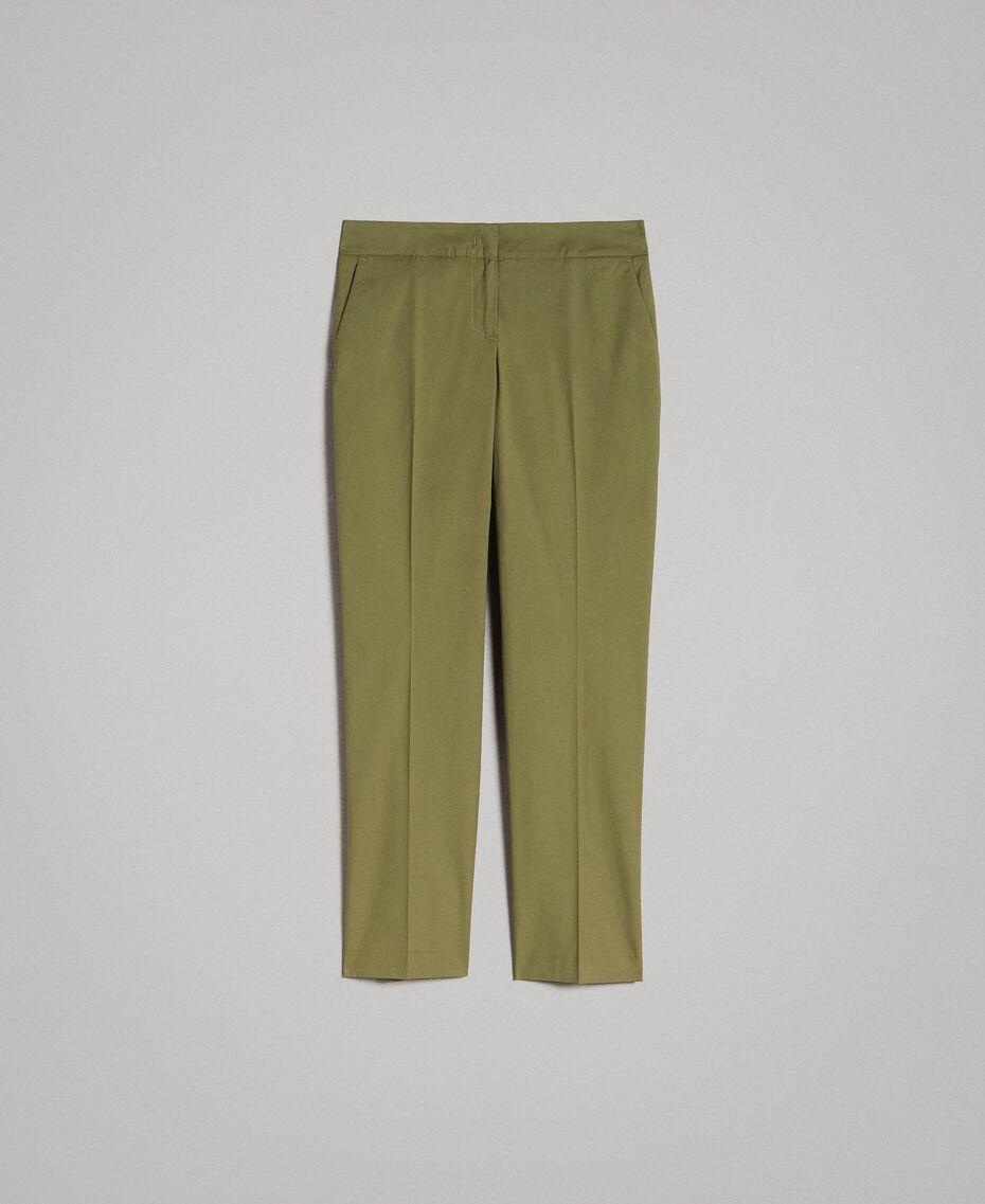 """Брюки в обтяжку из поплина """"Olive"""" Зелёный женщина 191TT2231-0S"""
