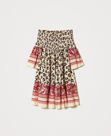 Off-shoulder animal print dress Leopard Spot & Paisley Print Child 211GJ2246-0S