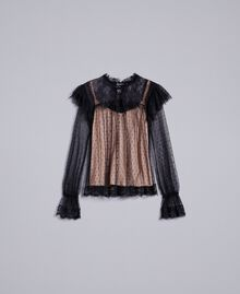 Tulle plumetis and lace blouse Black Woman TA82XE-0S