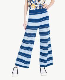 Pantacourt Multicolore Bleu Marine «Pivoine» / Bleu Placide / Beige «Corde» Femme SS83AF-01