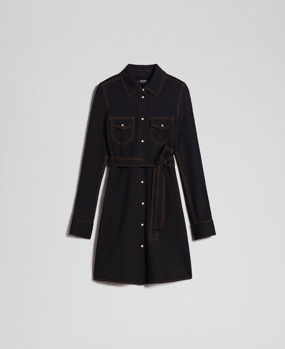 Denim effect shirt dress Black Woman 192MT2330-0S