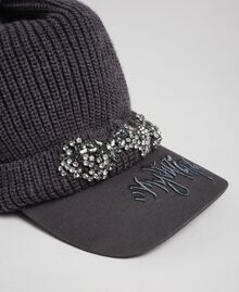 Knit beret with embroidered visor Medium Gray Mélange Woman 192MA4352-02