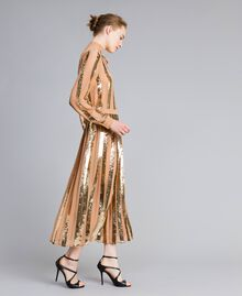 Mid-length georgette sequin skirt Camel Woman PA82J3-01
