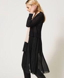 Cardigan long avec insertion plissée Noir Femme 211LL3NGG-02