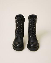 Кожаные ботинки-амфибии с бахромой Черный женщина 202TCT100-05