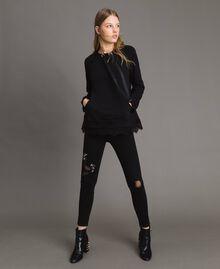 Sweatshirt mit Spitzendetails Schwarz Frau 191MP2324-0T
