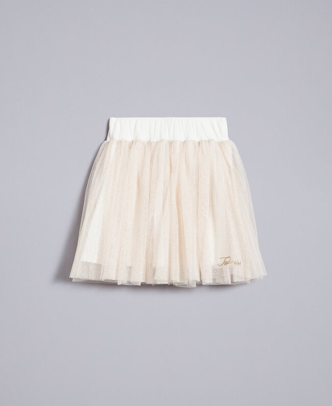 Gonna in tulle lurex Bicolor White / Lurex Oro Bambina GA82L2-01