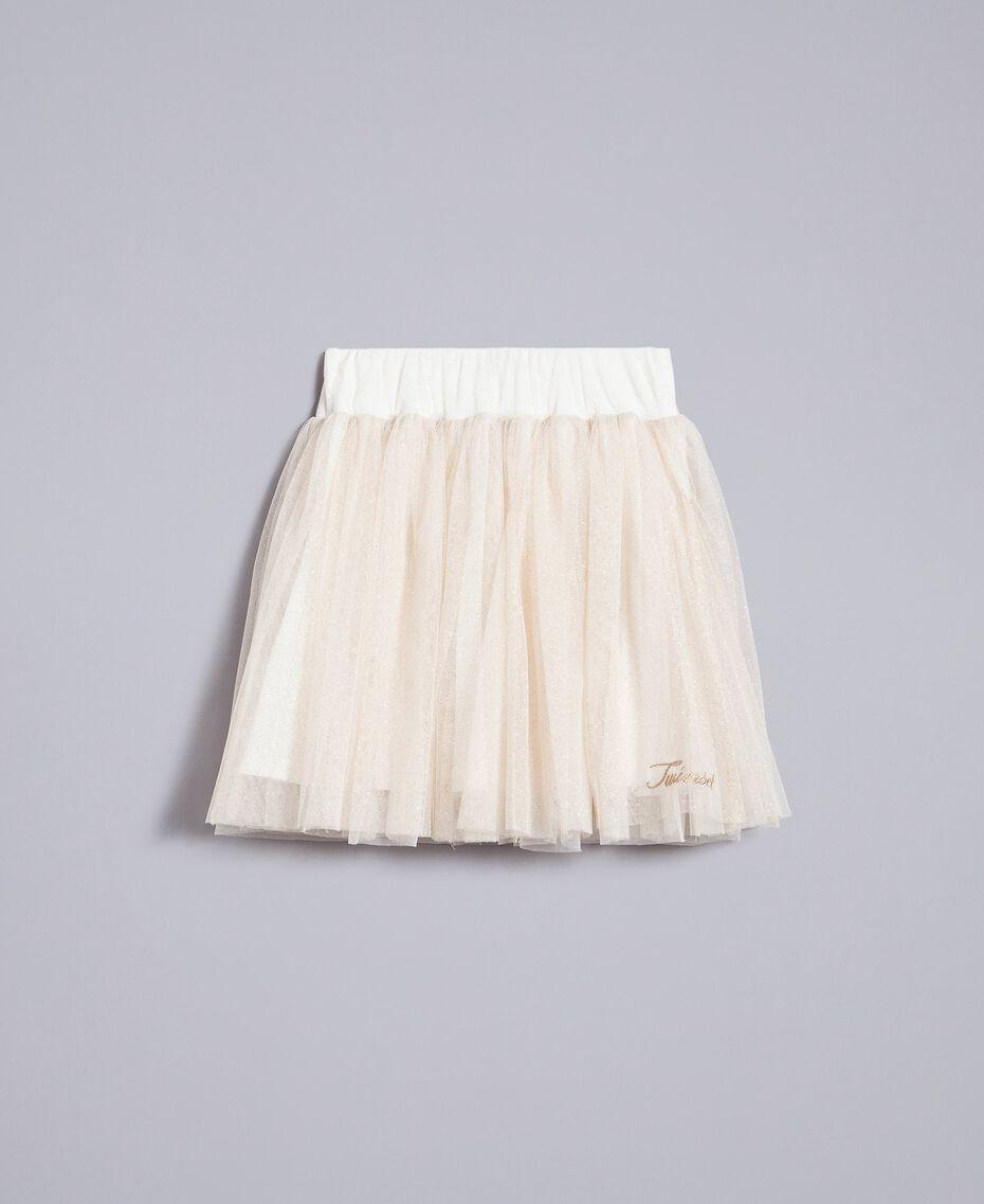 Jupe en tulle lurex Bicolore Blanc / Lurex Doré Enfant GA82L2-01