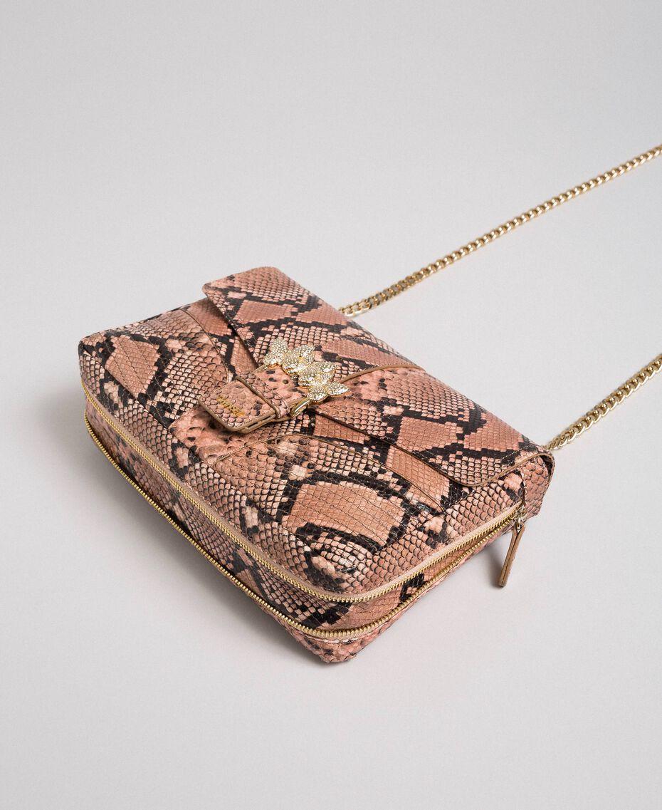 """Große Umhängetasche """"Rebel"""" mit Pythonprägung Pythonprint Pink Mousse Frau 192TA7230-02"""