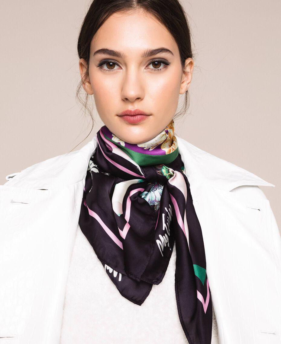 Foulard avec imprimé floral Imprimé Foulard Noir Femme 201MA4303-0S