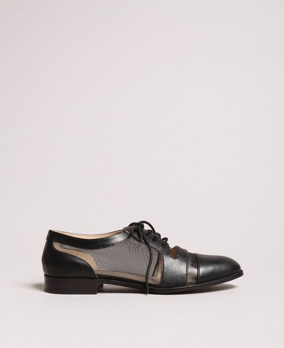 Туфли на шнурках из искусственной кожи и сетки Черный женщина 191MCP094-02