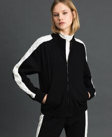"Bomber jacket with knit inlay Bicolour Black / ""Snow"" White Woman 192TP2120-01"