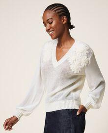 Jersey de mohair con bordado Blanco Nata Mujer 202TP3260-03