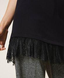 Top long avec dentelle Noir Femme 202TP2791-04