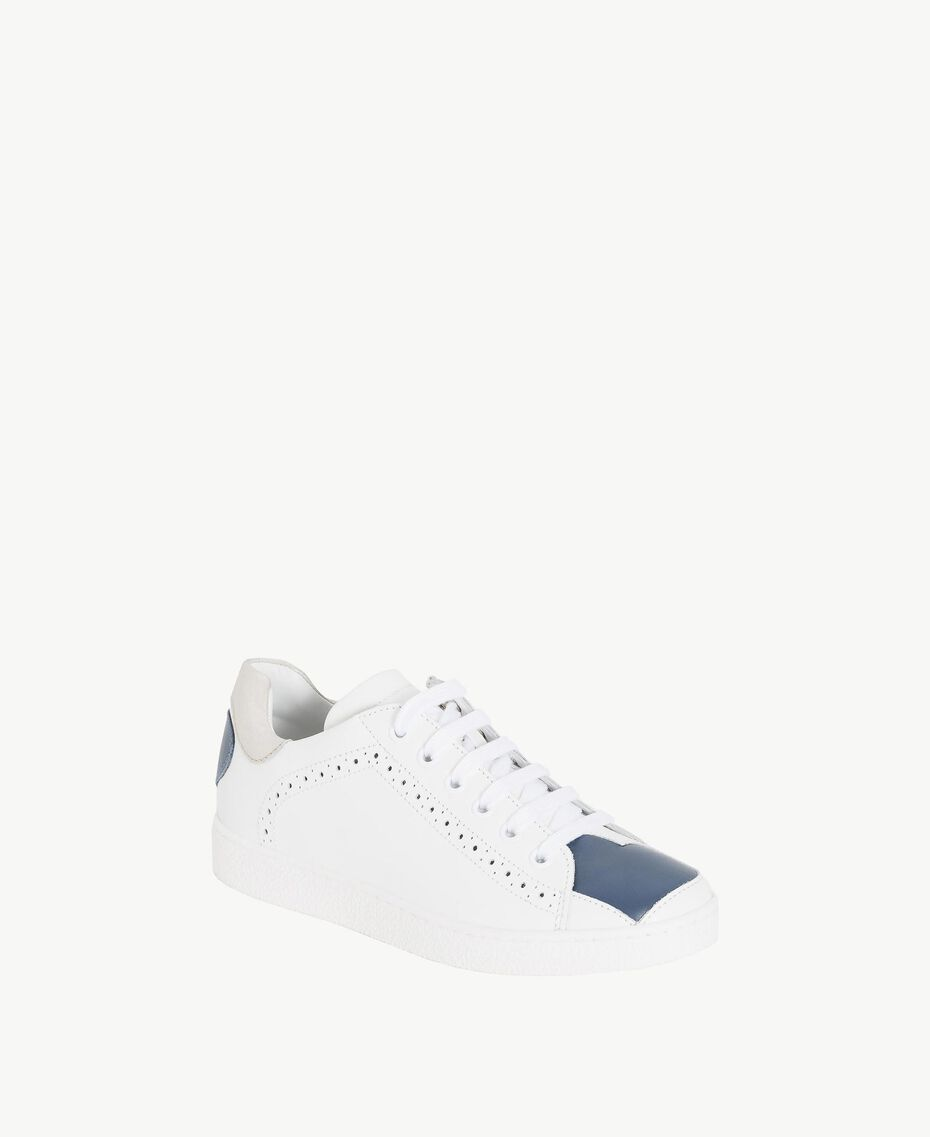 "Heart sneakers Two-tone ""Papyrus"" White / Ocean Blue Child HS88C1-02"