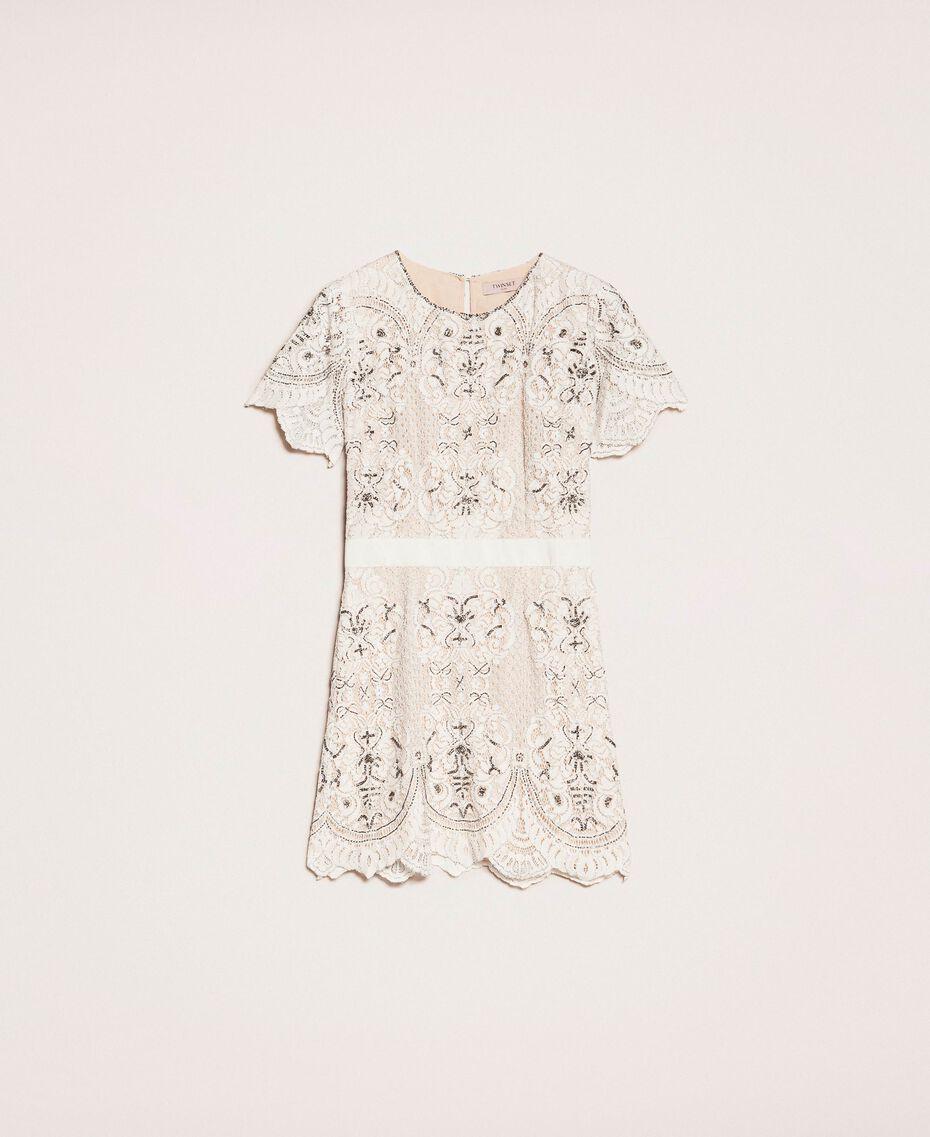Кружевное платье с вышивками Слоновая кость женщина 201TP2462-0S