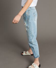 Girlfriend jeans with rhinestones and stones Denim Blue Woman 191MT2180-02