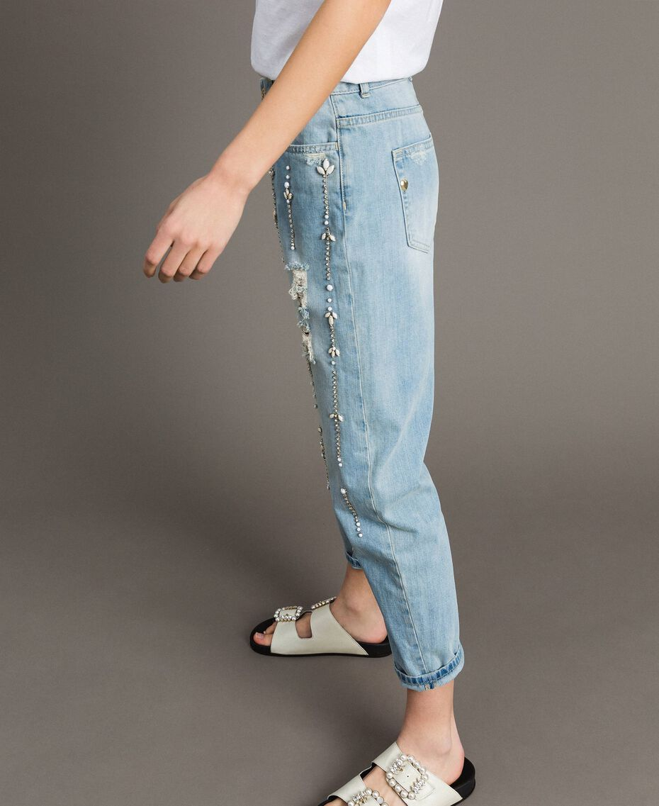 Jean girlfriend avec strass et pierres Bleu Denim Femme 191MT2180-02