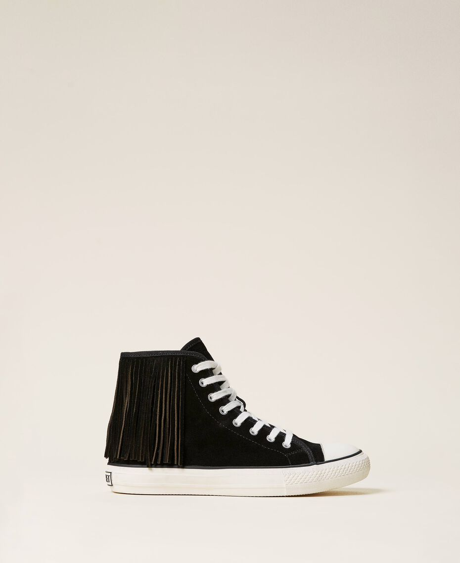 Leather trainers with fringes Black Woman 212TCP100-01