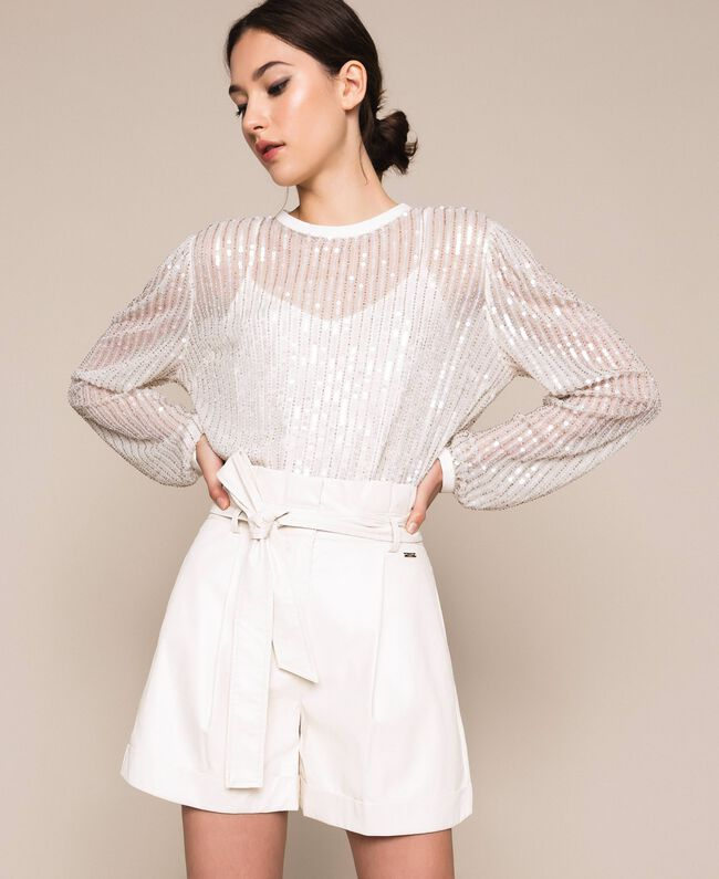 """Faux leather shorts with belt """"Silk"""" White Woman 201ST2115-01"""