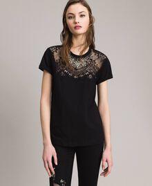 Lace and rhinestones T-shirt Black Woman 191TP2603-02