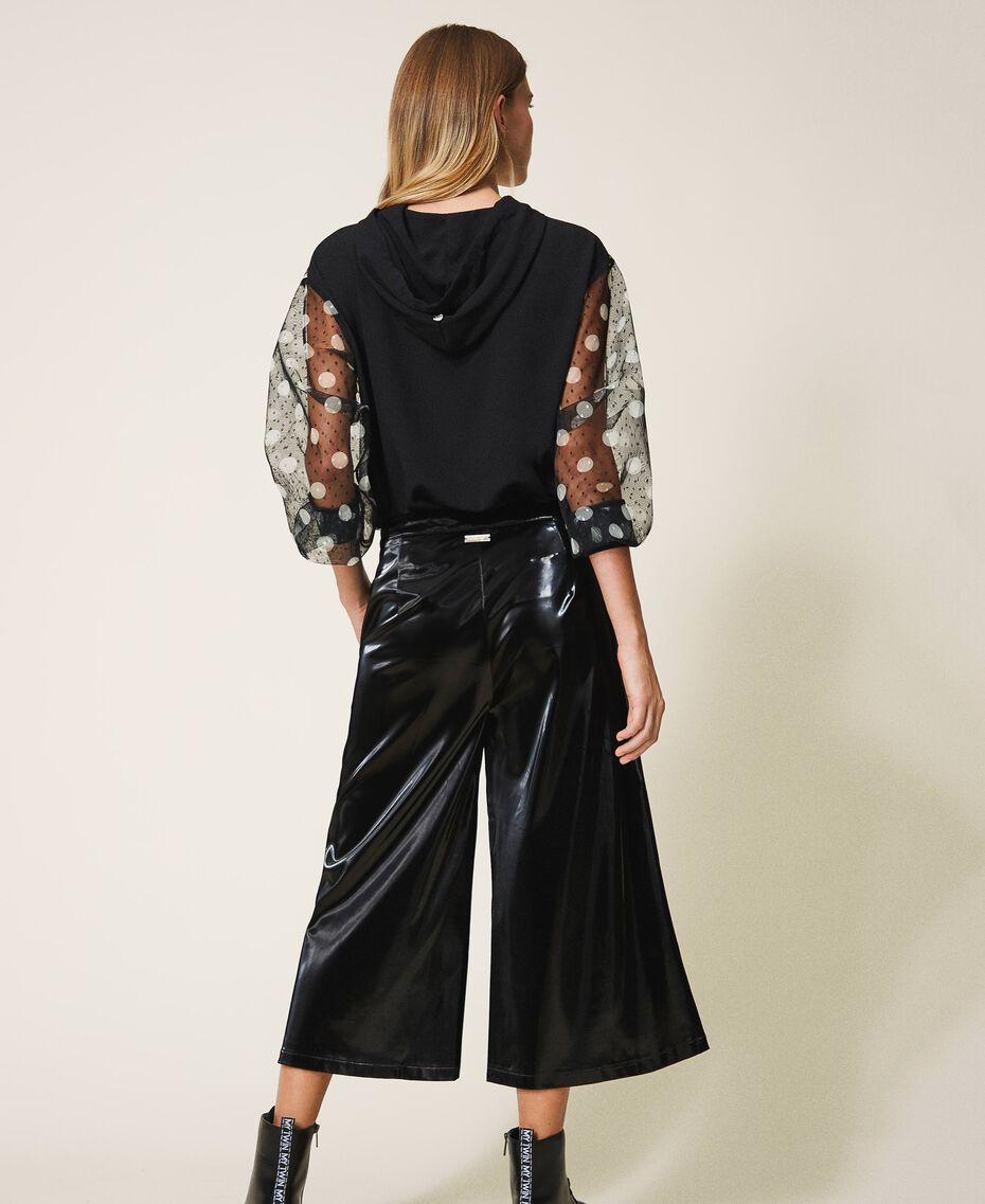 Patent leather cropped trousers Black Woman 202LI2JFF-03