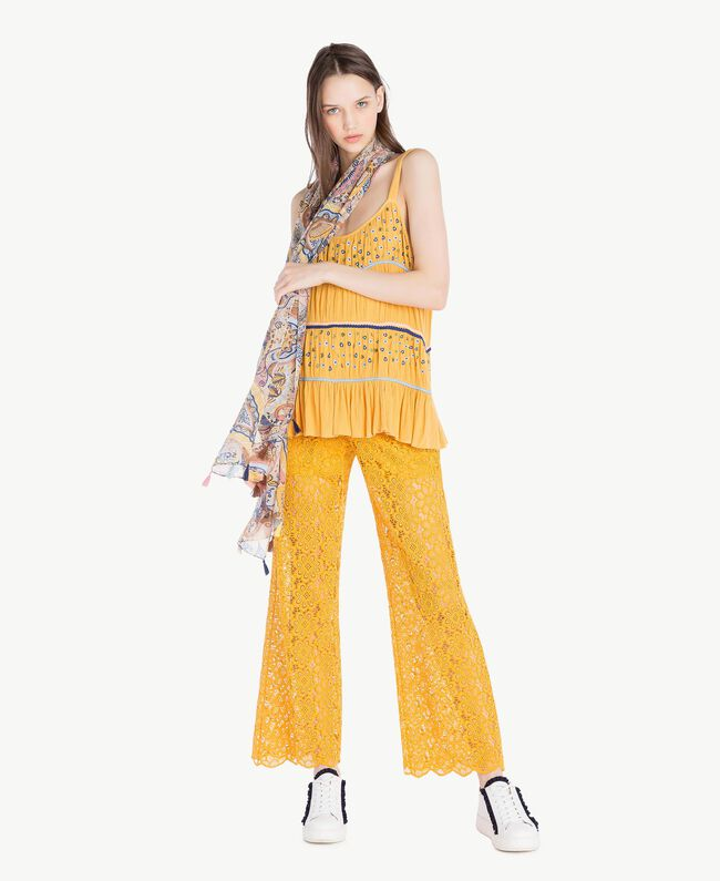Embroidered top Mineral Yellow Woman SS82HC-05
