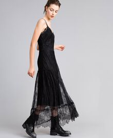 Robe longue en dentelle de Valenciennes multicolore Noir Femme PA82FP-02