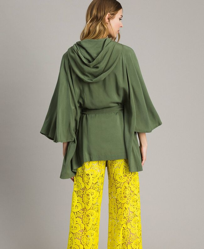"Hooded cape ""Cactus"" Green Woman 191MT2311-03"