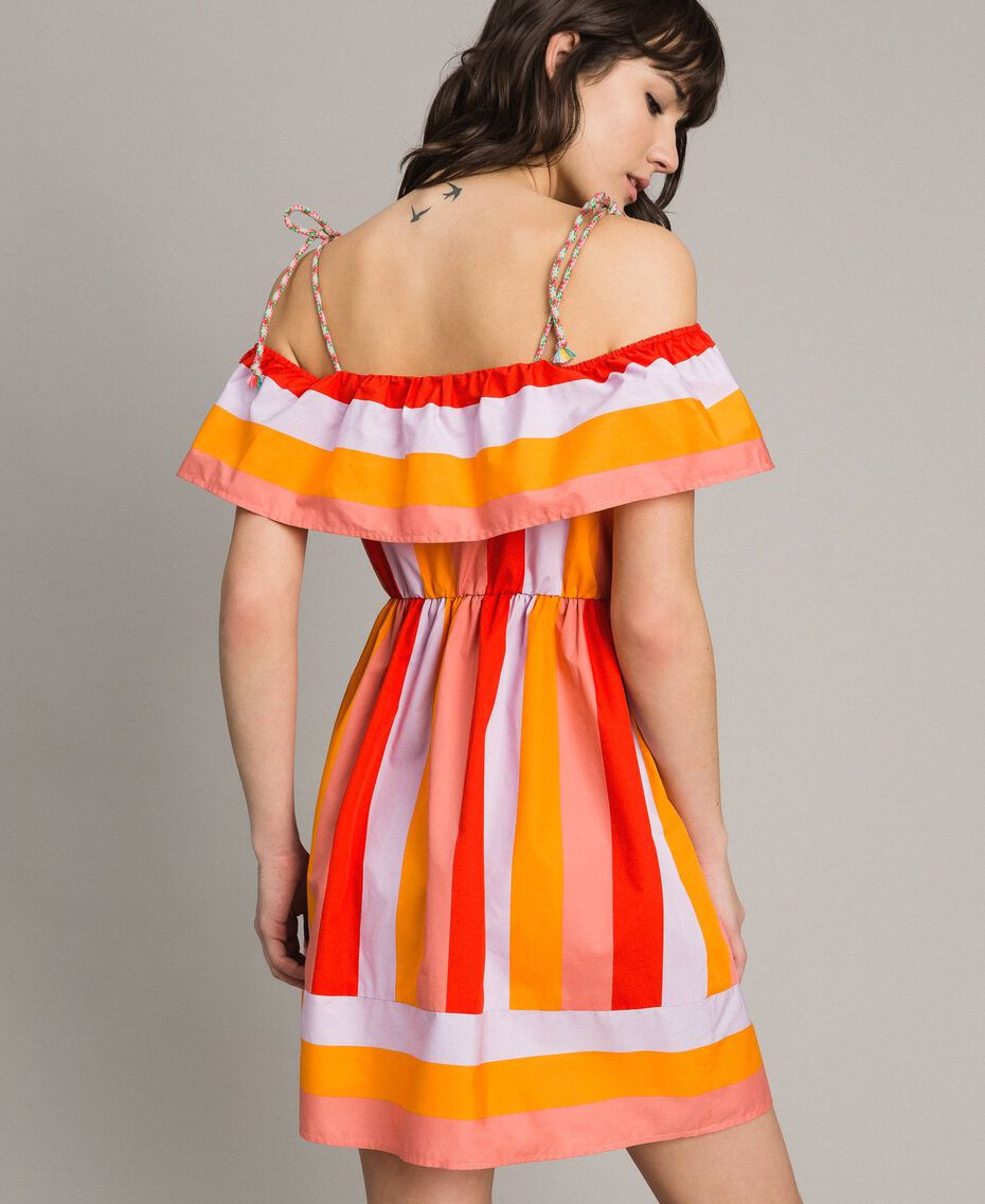 Multicolour striped poplin dress Multicolour Grenadine Print Woman 191TT2412-03