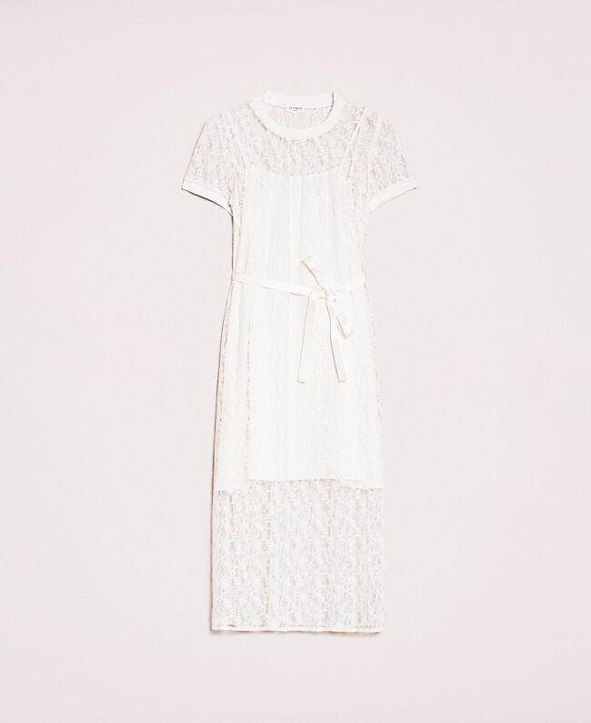 """Длинное кружевное платье с поясом Белый """"Шелк"""" женщина 201ST2151-0S"""
