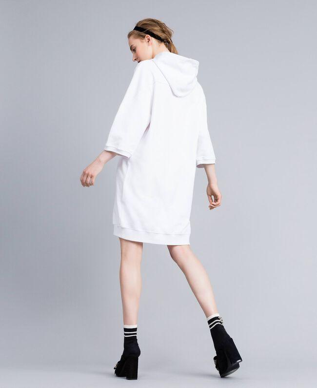 Kleid aus Baumwolle mit Flockherz Weiß Frau PA82CG-03