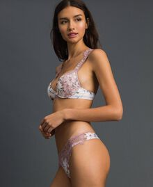 Floral G-string with lace Ivory Floral Print Woman 192LI6588-02