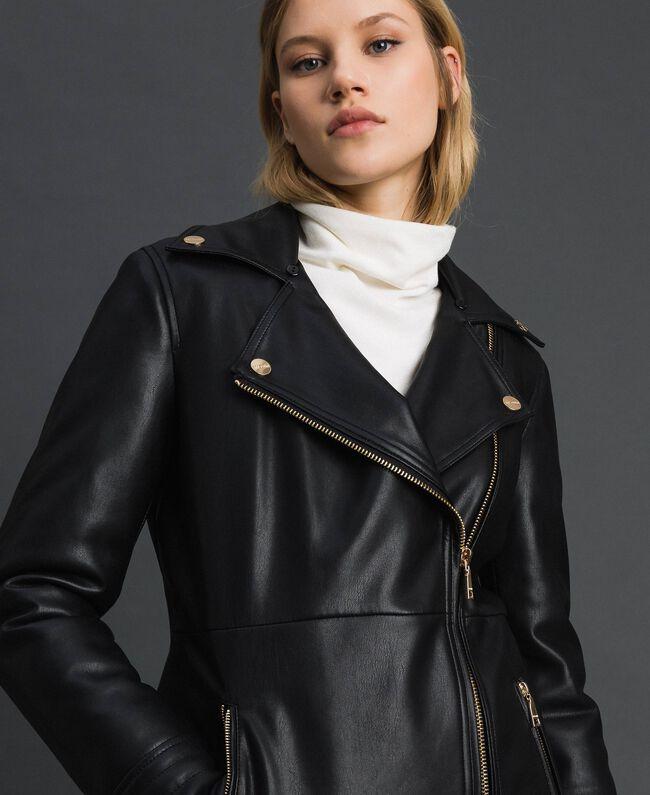 Perfecto long en similicuir avec ceinture Noir Femme 192MP2030-04