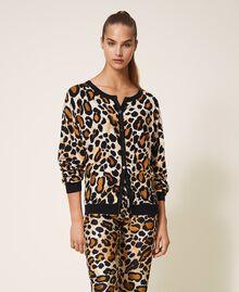 Cardigan-Pullover mit Animalprint Animalier-Print Frau 202LL3EBB-02