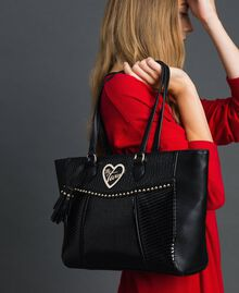 Faux leather shopping bag with studs and tassel Black Woman 192MO8010-0S