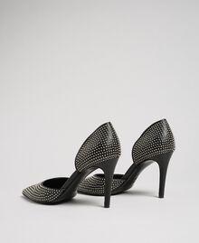 Escarpins en cuir avec clous all-over Noir Femme 192TCP152-03