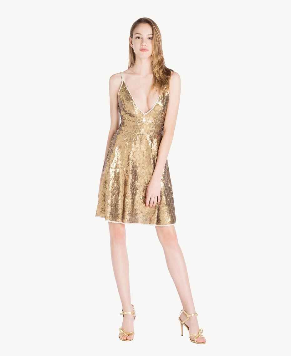 Kleid mit Alloverpailletten Gold Gelb Frau TS82ET-01