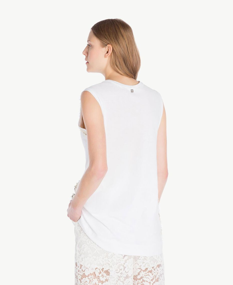Embroidered tank top White Woman TS829W-03
